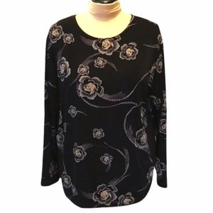 Awesome wear black floral blouse one size